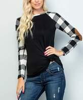 Celeste Women's Tee Shirts BLK/WTE - Black & White Plaid Elbow-Patch Long-Sleeve Tee - Plus
