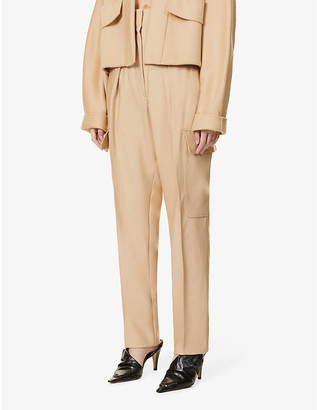 Sportmax Maremar flap-pocket tapered high-rise wool-blend trousers