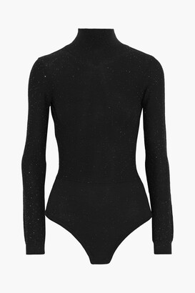 Area Open-back Sequined Wool-blend Turtleneck Bodysuit