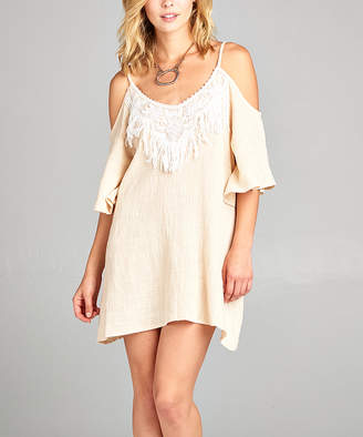 BEIGE Simply Boho La Simply Boho LA Women's Tunics  Shoulder Cutout Tassel Tunic - Women