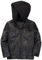 Urban Republic Ribbed Shoulder Faux Leather Hooded Jacket (Toddler & Little Boys)