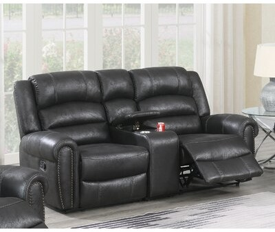 """Winston Porter Recliner-41"""" H x 78"""" W x 39"""" D Fabric: Black Faux Leather, Reclining Type: Manual"""