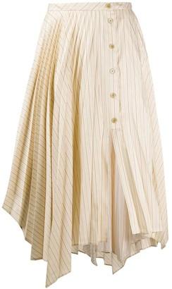 Acne Studios Neutral Striped Midi Skirt
