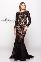 Milano Formals - Fully Embroidered Black Long Sleeve Dress E1883