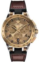 Versace Tech Bronzetone IP Leather & Rubber Strap Watch