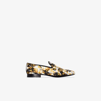 Versace Multicoloured Baroque Print Silk Loafers