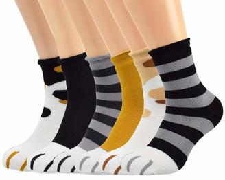 Voqeen 6 Pairs Cat Paw Socks Womens Funny Cotton Animal Novelty Cozy Socks Cute Style Christmas for girls Women Warm Winter Super Soft Plush Socks (C)