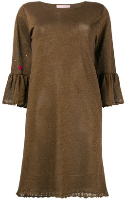 Kristina Ti embellished trumpet sleeve dress
