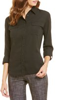 Investments Long Roll-Tab Sleeve Collared Utility Blouse