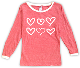 Urban Smalls Red Hand-Drawn Hearts Boatneck Top - Toddler & Girls
