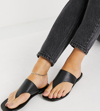 ASOS DESIGN Wide Fit Folly leather toe thong sandals in black