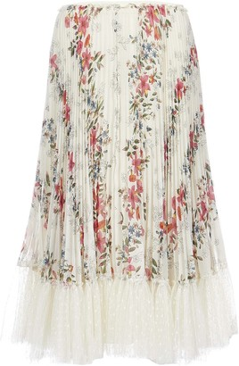 RED Valentino Floral Pleated Skirt