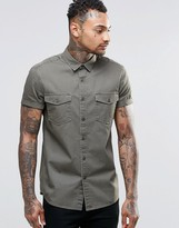 Asos Regular Fit Khaki Twill Shirt With 2 Pockets And Heavy Wash