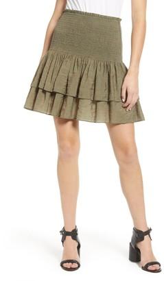 Rebecca Minkoff Amari Smocked Ruffle Mini Skirt