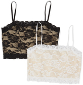 Pure Style Girlfriends Nude & Black Floral Lace Wireless Cami Bra Set - Plus Too