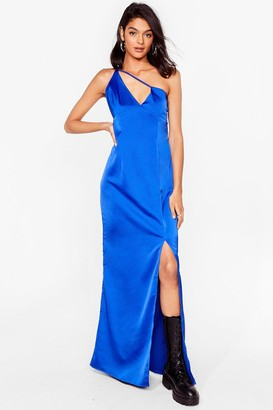 Nasty Gal Womens Give Us One Moment Satin Maxi Dress - Cobalt
