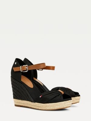 Tommy Hilfiger Leather Ankle Strap Open-Toe Wedges