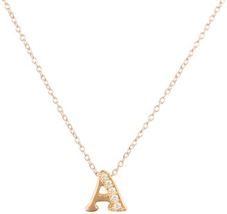 Latelita Diamond Initial Letter Pendant Necklace Rose Gold A