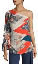 Josie Natori Floral Print One-Shoulder Top