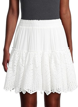 Allison New York Eyelet Tiered Mini Skirt