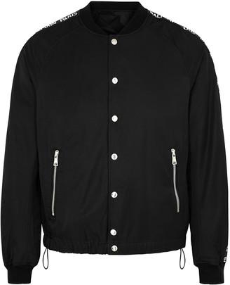 Balmain Black logo-taping shell bomber jacket