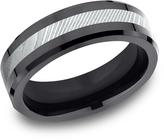 Ice Men's Damascus Steel and Black Titanium 7mm Comfort-Fit Beveled Edge Design Ring