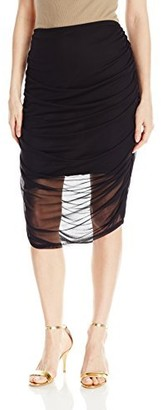 Star Vixen Women's Chiffon Rouched Midi Skirt with Short Lining