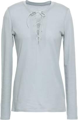 Majestic Filatures Lace-up Cotton And Cashmere-blend Top