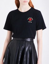 Mo&Co. Rose-embroidered cotton-jersey T-shirt