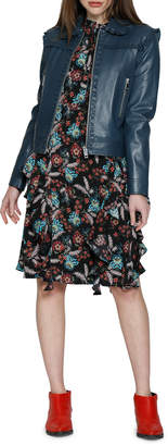 Walter Baker Fiona Floral Ruffle Fit-and-Flare Dress