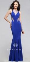 Faviana Neoprene Cutout Mesh Prom Dress