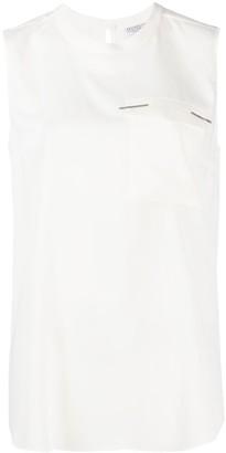Brunello Cucinelli Patch-Pocket Sleeveless Blouse