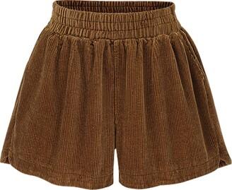 ZiXing Womens Casual Corduroy Shorts High-Waisted Shorts Loose Hot Pants Green XX-Large