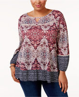 Style&Co. Style & Co Plus Size Printed High-Low Swing Top, Only at Macy's