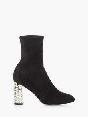 Dune Orella Suede Embellished Ankle Boots, Black