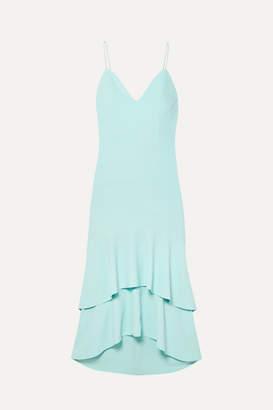 Alice + Olivia Amina Tiered Silk Satin-trimmed Crepe Midi Dress - Sky blue
