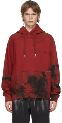 Feng Chen Wang Red Tie-Dye Panelled Hoodie