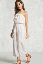 Forever 21 FOREVER 21+ Striped Strapless Jumpsuit