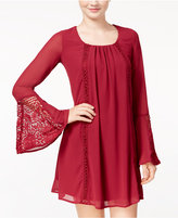 Sequin Hearts Juniors' Bell-Sleeve Shift Dress