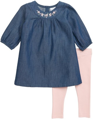 Nordstrom Embroidered Dress & Leggings Set (Baby)