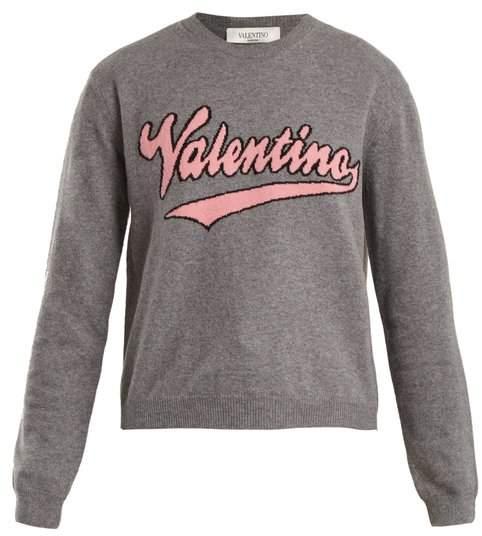 Valentino Logo Intarsia Wool And Cashmere Blend Sweater - Womens - Grey Multi