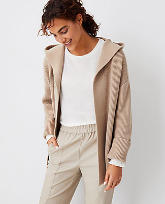 Ann Taylor Ribbed Hooded Open Cardigan