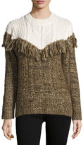 Thakoon Two-Tone Fringed Pullover Sweater, Ivory/Brown