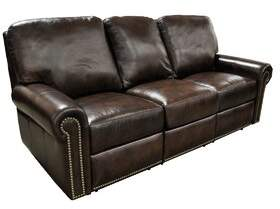 Omnia Leather FairField Leather Reclining Sofa Omnia Leather Body Fabric: Eugene Slate, Nailhead Detail: Medium Brass Touching, Reclining Type: Manual