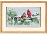 """Dimensions Winter Cardinals Counted Cross Stitch Kit-15""""X9"""" 16 Count"""