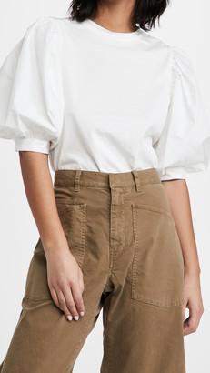 En Saison T-Shirt With Poplin Puffed Sleeves