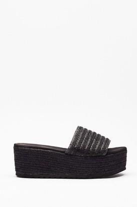 Nasty Gal Womens You're a Natural Woven Platform Sandals - Black