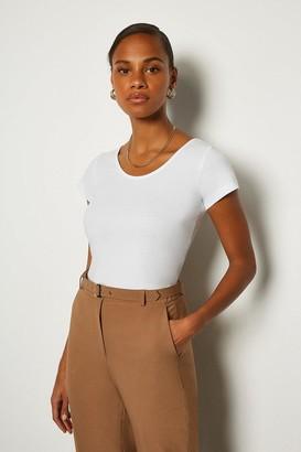 Karen Millen Cap Sleeve Crew Neck Cotton T-Shirt