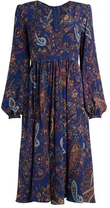Etro Ardennes Paisley Silk Midi Dress