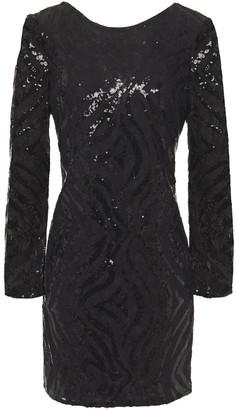 Claudie Pierlot Open-back Sequined Lace Mini Dress